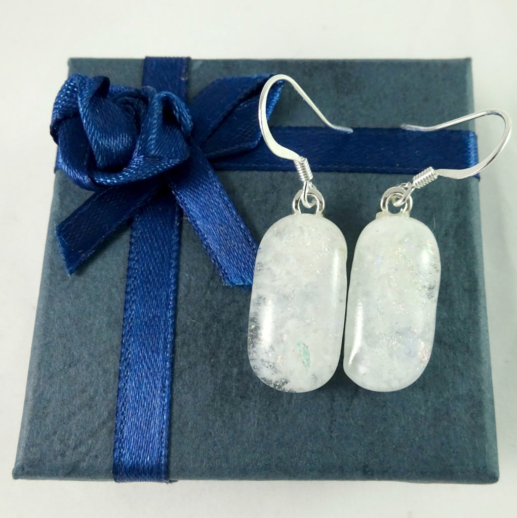 Handmade Dichroic and White Art Glass Earrings, Great Mother's Day Gift!