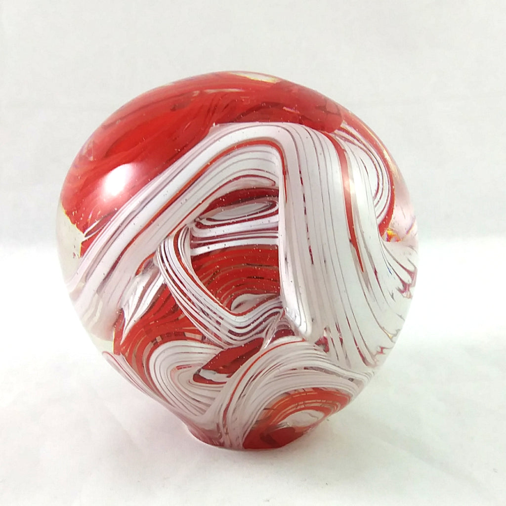 Handmade Art Glass Paperweight, Red and White, Christmas Gift