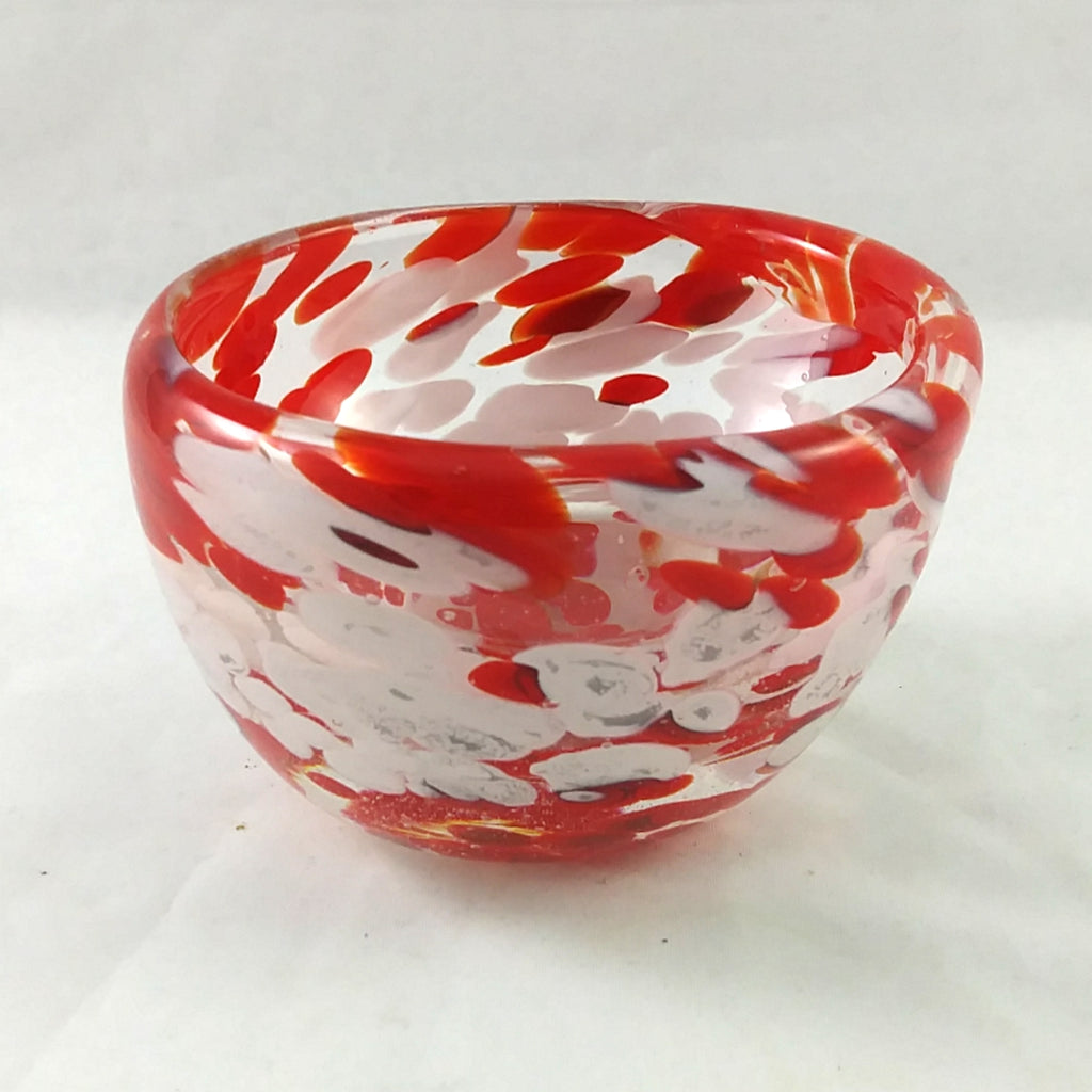 Handmade Art Glass Candle Holder, Red and White, Christmas Gift