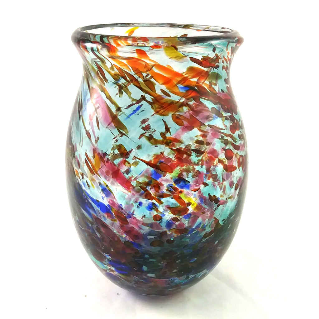 Handmade Art Glass Vase, Multi Color, Spring Gift