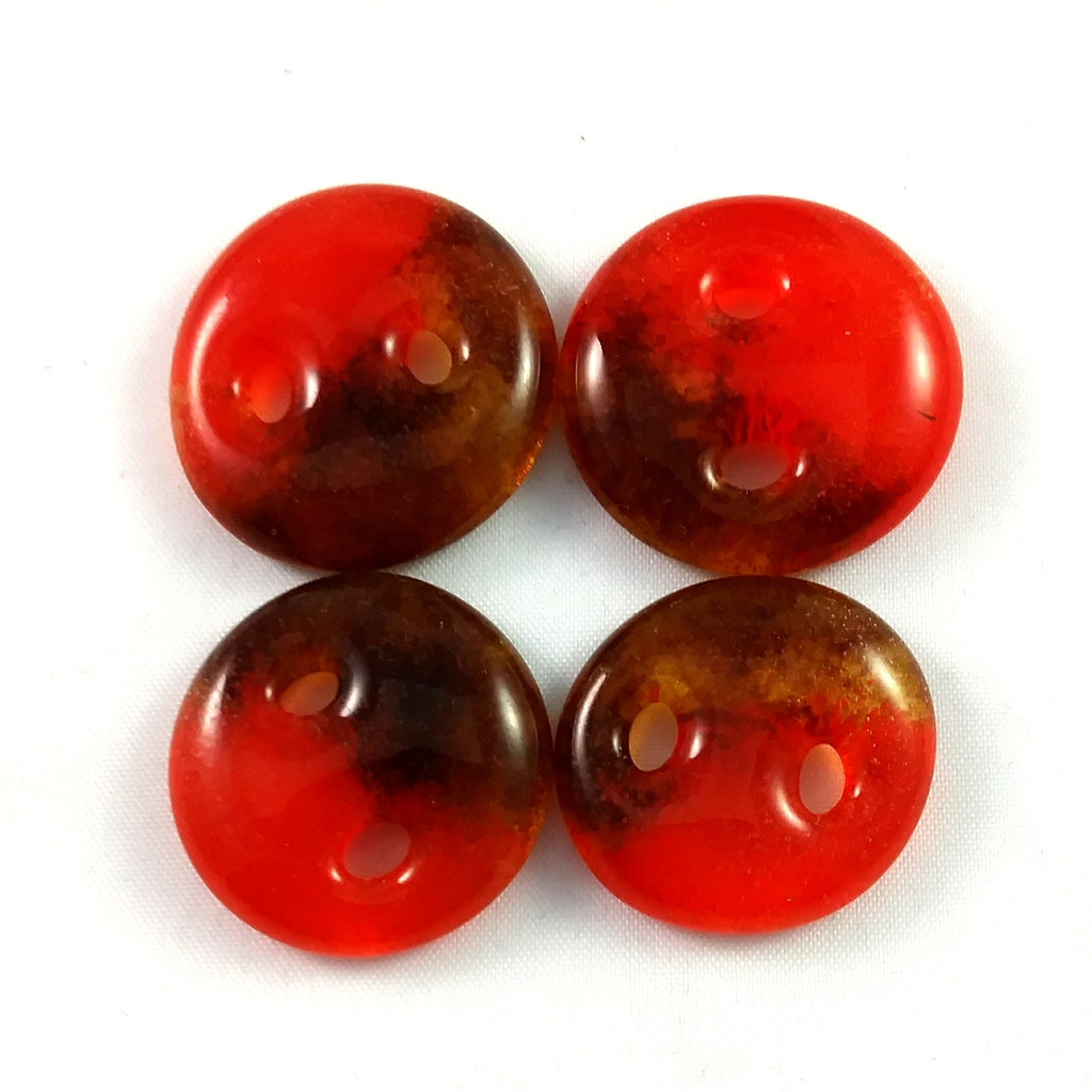Handmade Art Glass Button, Amber and Orange, Fall Gift