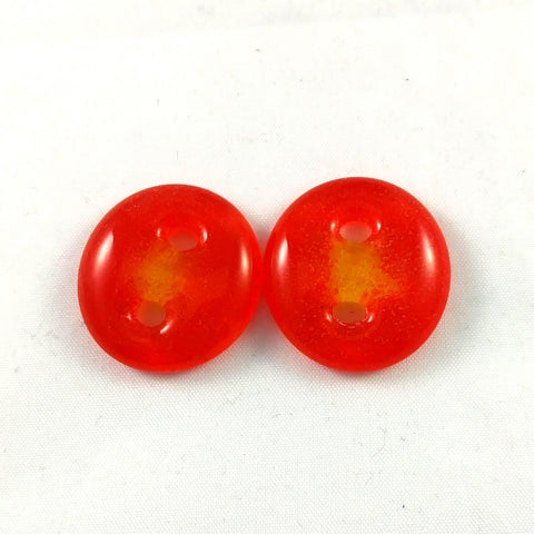 Handmade Art Glass Button, Orange and Yellow, Spring Gift