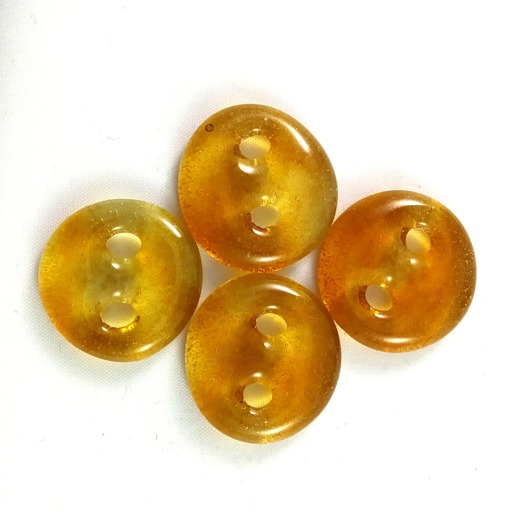 Handmade Art Glass Button, Light Amber, Fall Gift