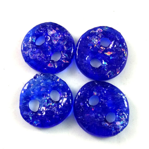 Handmade Art Glass Button, Blue and Rainbow Dichroic, Winter Gift