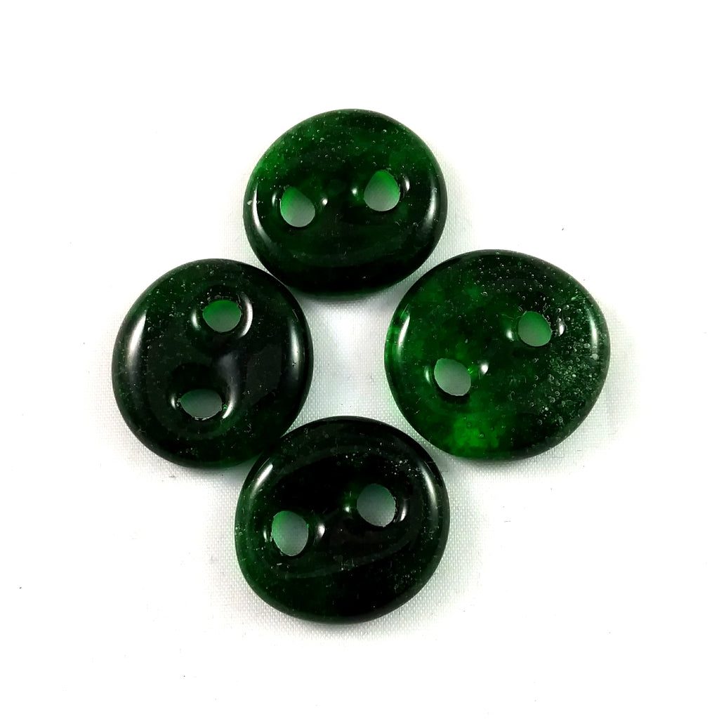 Handmade Art Glass Button, Forest Green