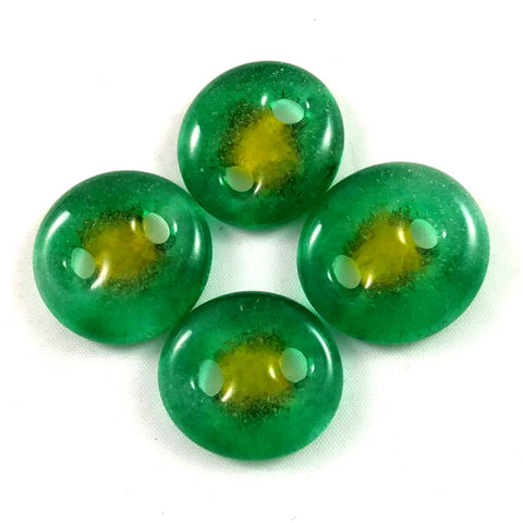 Handmade Art Glass Button, Green and Yellow