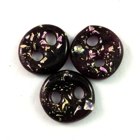Handmade Art Glass Button, Pink and Pink Dichroic