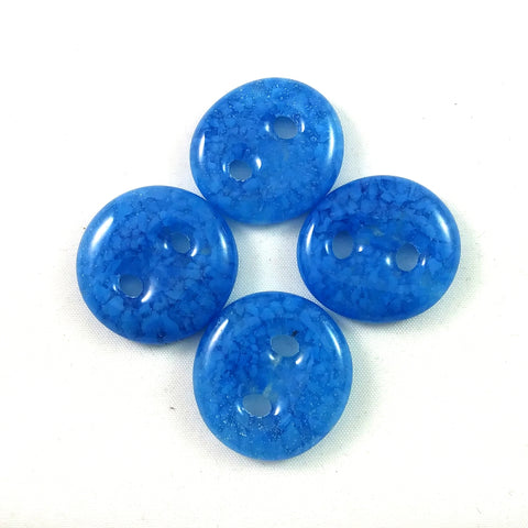 Handmade Art Glass Button, Light Blue