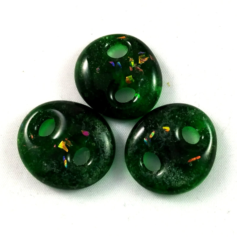 Handmade Art Glass Button, Green and Rainbow Dichroic