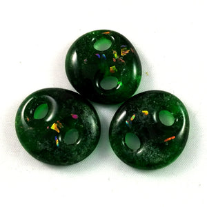Handmade Art Glass Button, Green and Rainbow Dichroic, Christmas Gift