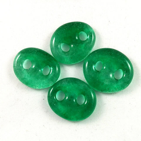 Handmade Art Glass Button, Green