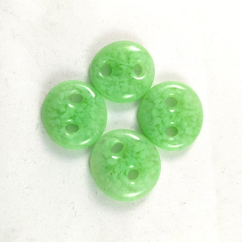 Handmade Art Glass Button, Light Green