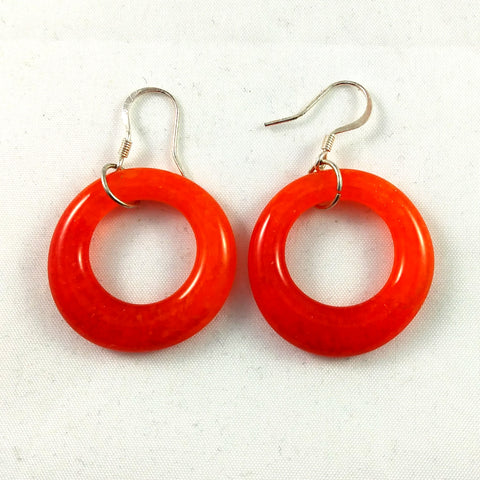 Handmade Art Glass Hoop Earrings, Red and Orange