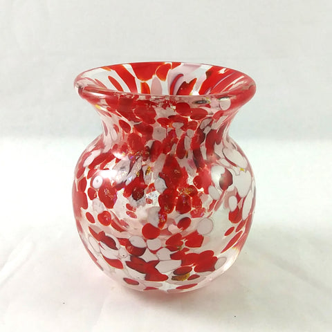 Handmade Glass Vase, Red White Yellow Dichroic, Small, Mothers Day Gift