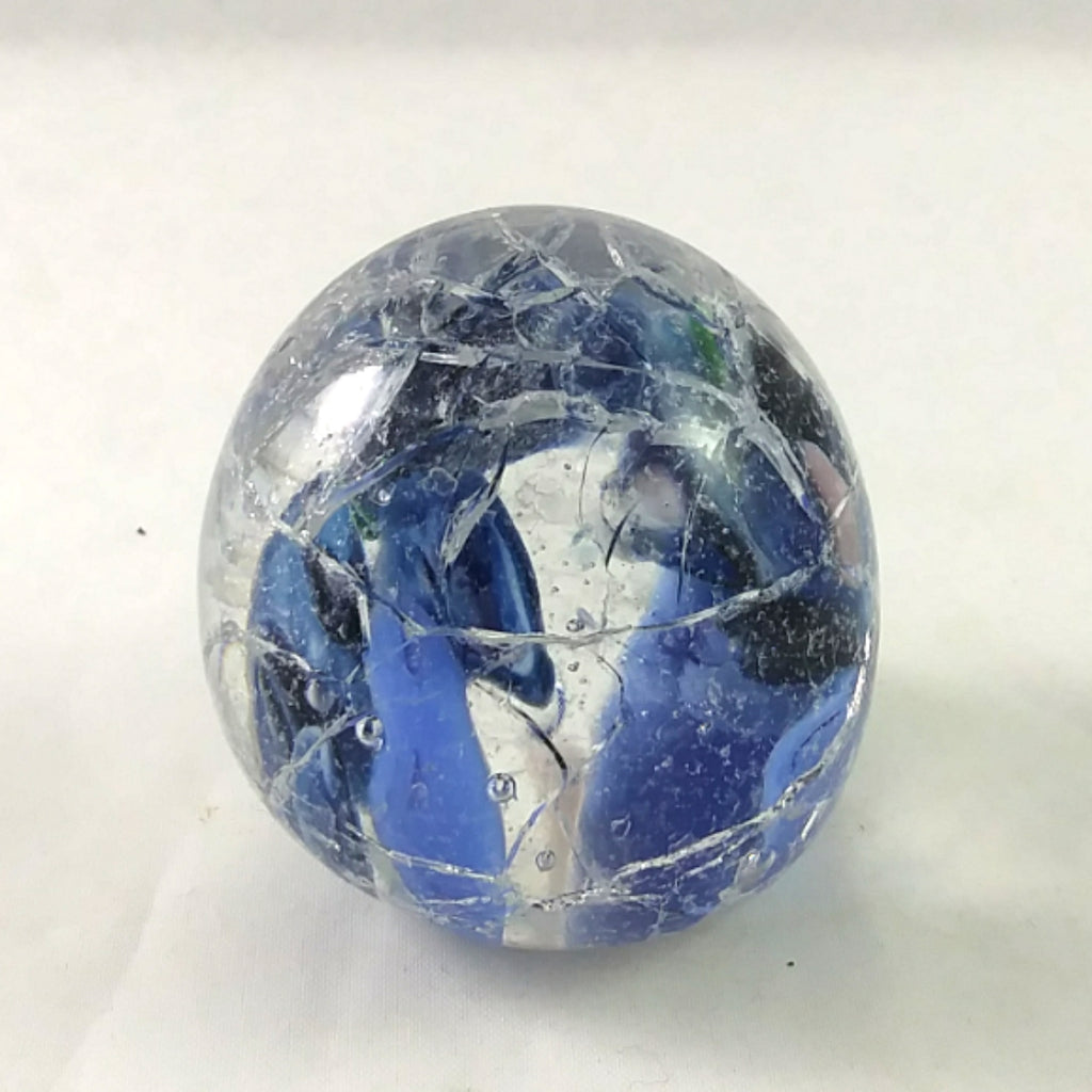 Handmade Art Glass Crackle Easter Egg Paperweight, Mixed Blues, Small