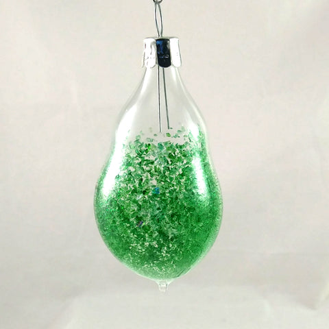 Small Handmade Christmas Ornament, Green and Rainbow Dichroic