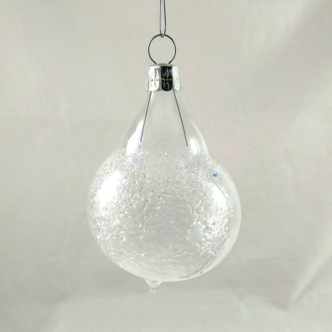 Small Handmade Christmas Ornament, Clear and Ice Chip