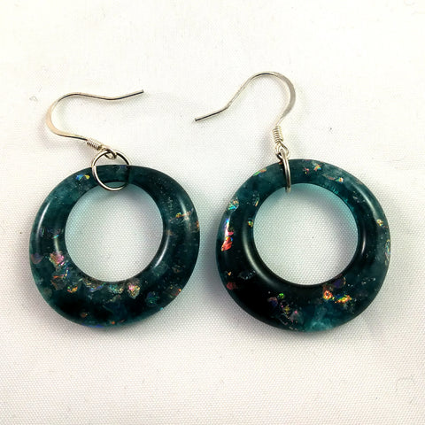 Handmade Glass Hoop Earrings, Aquamarine and Rainbow Dichroic