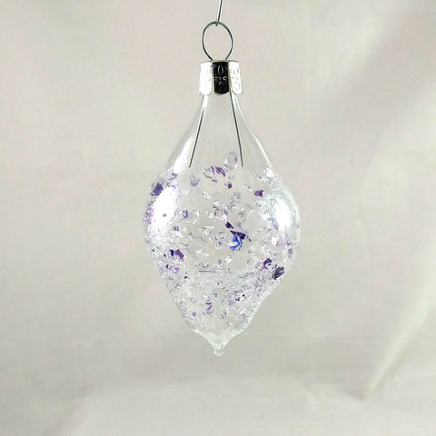 Small Handmade Christmas Ball Ornament, Purple and Clear
