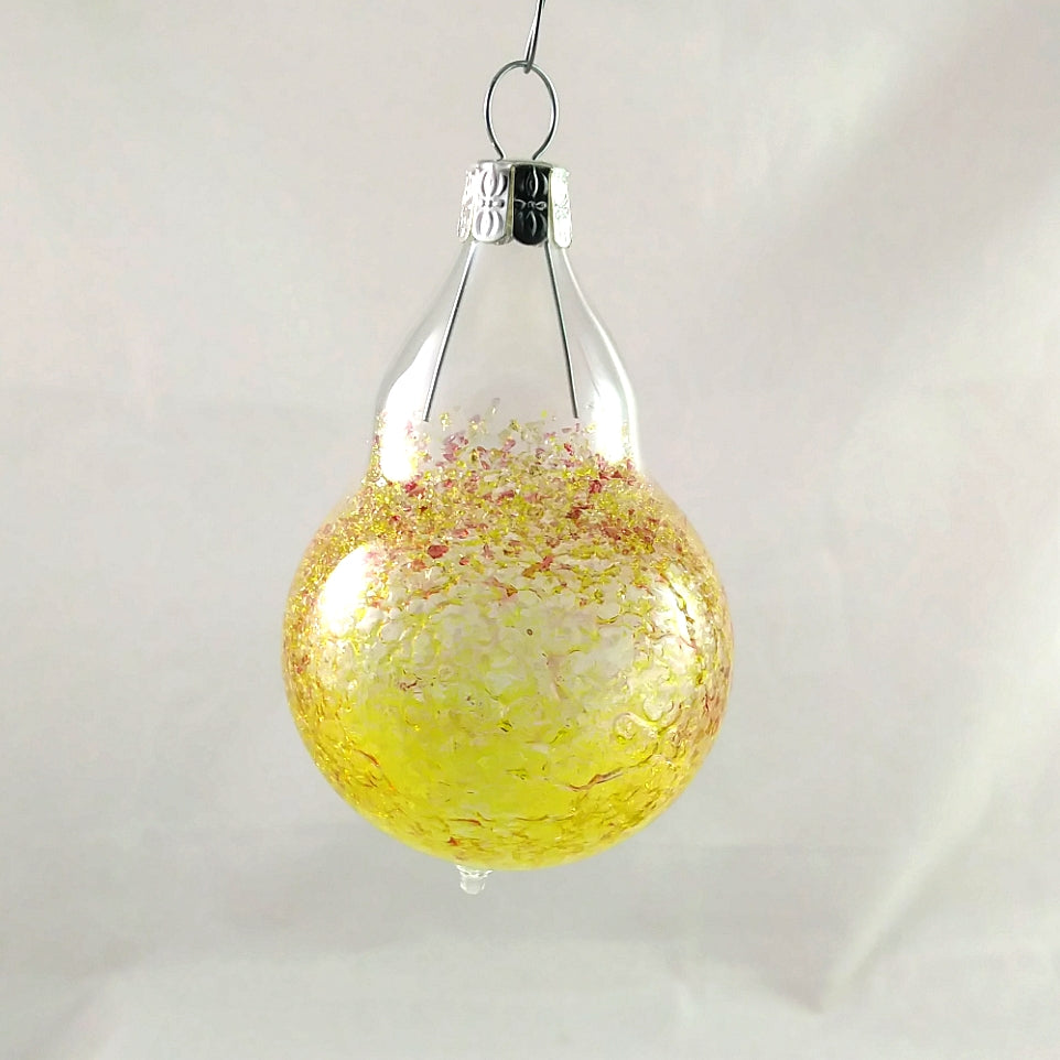 Small Handmade Christmas Ornament, Yellow Amber and Pink