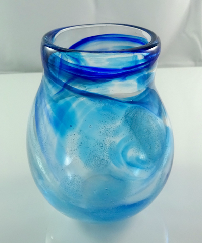 Art glass vase, hand blown purple, blue, aquamarine and glow in the dark glass