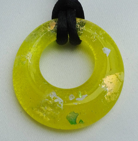 Handmade Art Glass Yellow and Mixed Dichroic Hoop Jewelry Pendant, Mother's Day, Fall Gift!