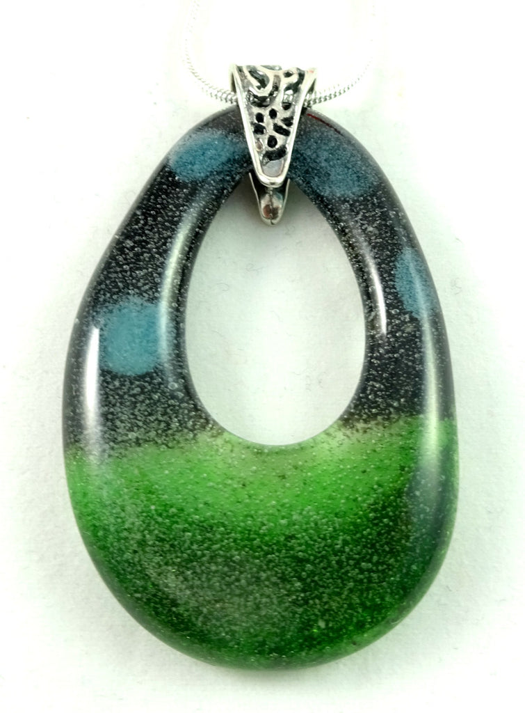 Black Green and Glow in the Dark Handmade Art Glass Teardrop Jewelry Pendant, Design By...