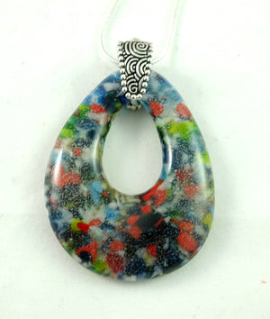 Red Yellow Green and Blue Handmade Art Glass Teardrop Jewelry Pendant