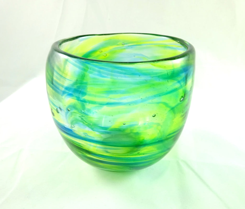 Handmade Blue and Mixed Greens Art Glass Tumbler, SECOND
