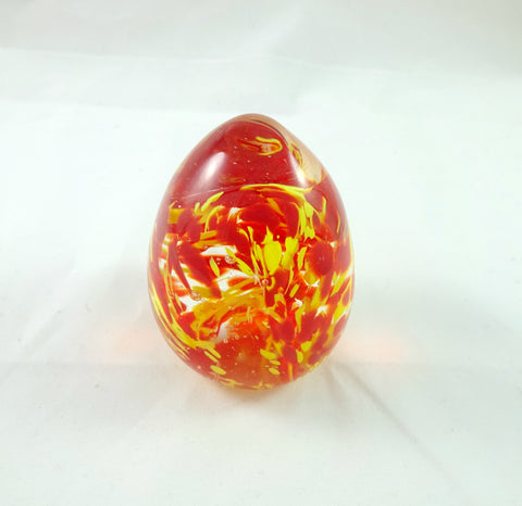 Handmade Art Glass Red and Yellow Easter Egg Paperweight