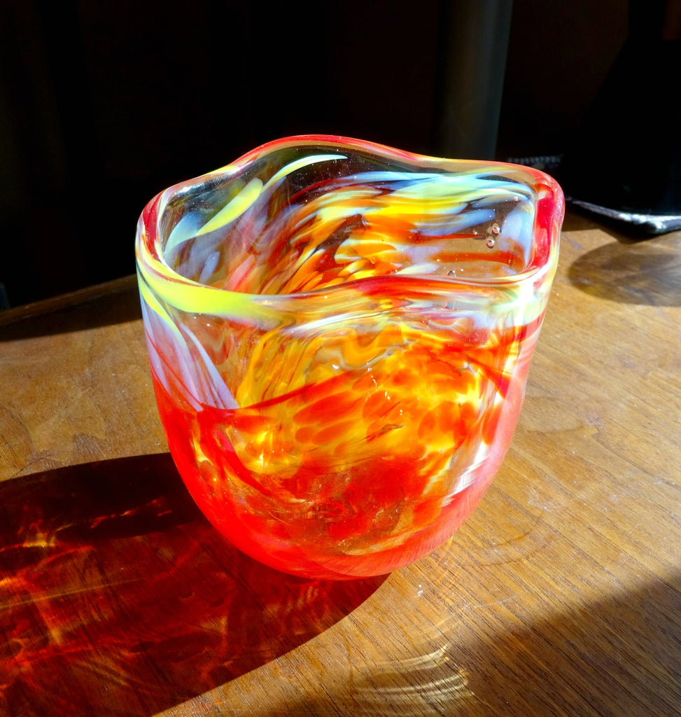 Handmade Red, Yellow, and White Free Form Art Glass Bowl, Great Mother's Day, Fall Gift