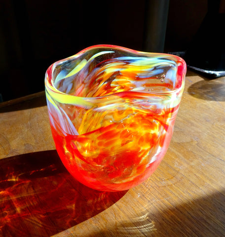 Handmade Red, Yellow, and White Free Form Art Glass Bowl, Great Mother's Day Gift