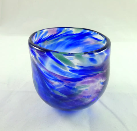 Blue Purple and Teal Handmade Art Glass Candle Holder
