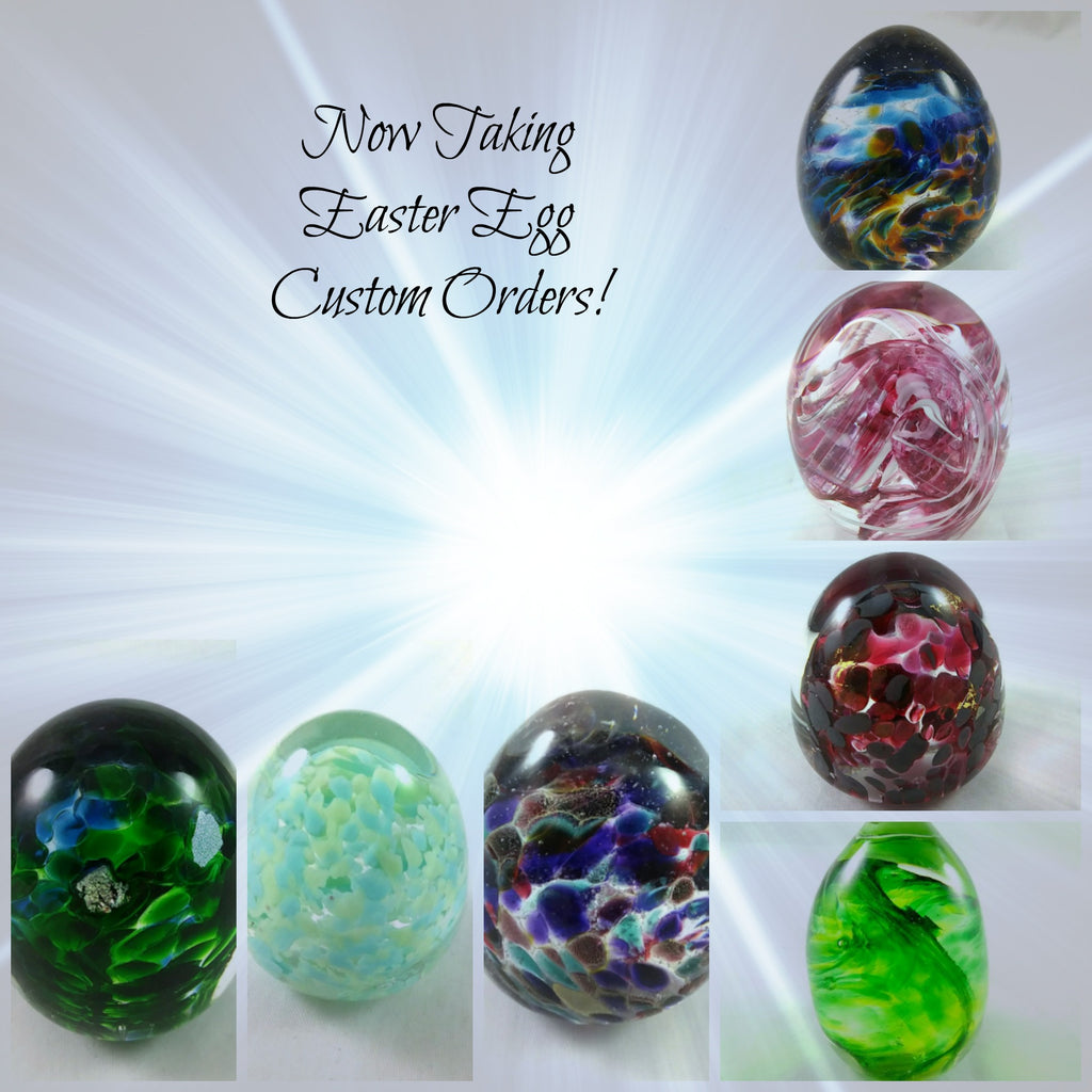 Handmade Art Glass Easter Egg Paperweights, 12 Count