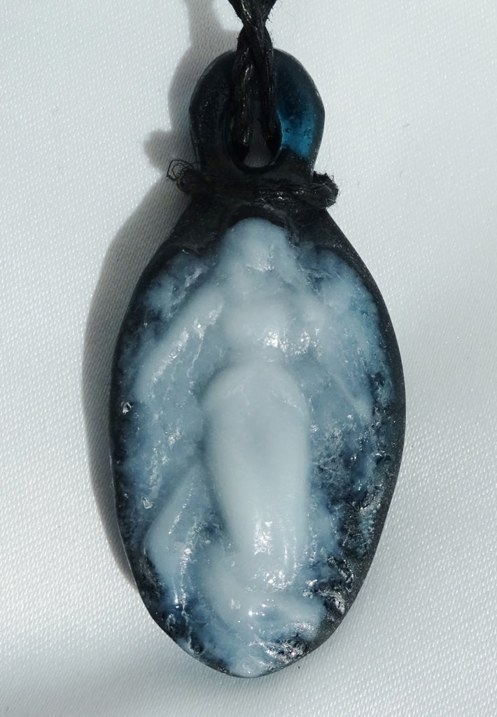 Handmade Art Glass Aquamarine Angel and Cross Jewelry Pendant, Donation, Great Mother's Day Gift