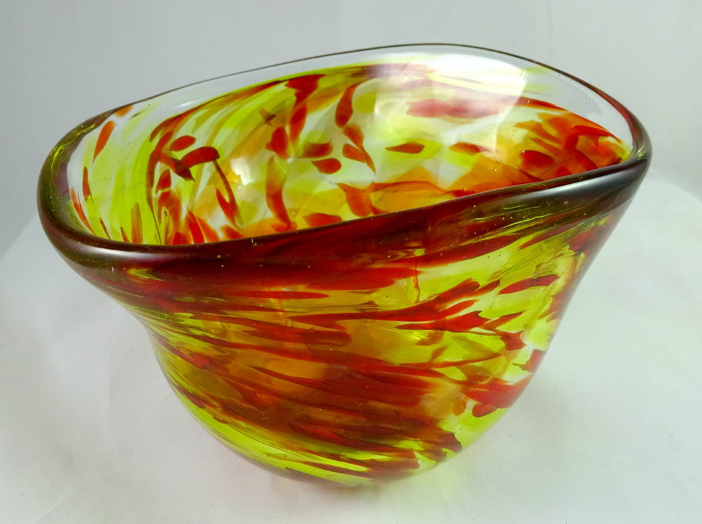 Handmade Red and Yellow Free Form Art Glass Bowl