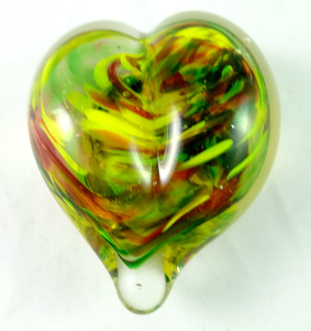 Handmade Yellow, Green, and Red Art Glass Heart Paperweight, Discounted