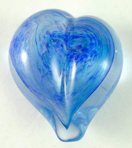 Handmade Blue and Lavender Art Glass Heart Paperweight, Great Mother's Day Gift!