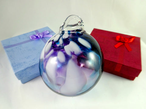 Large Handmade Purple Blue and White Art Glass Christmas Ornament