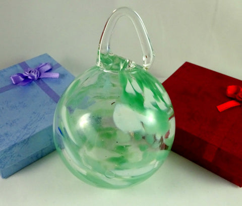 Large Handmade Green and White Art Glass Christmas Ornament, Glow in the Dark
