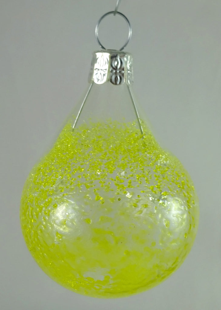 Small Handmade Yellow Icicle Christmas Ball Ornament