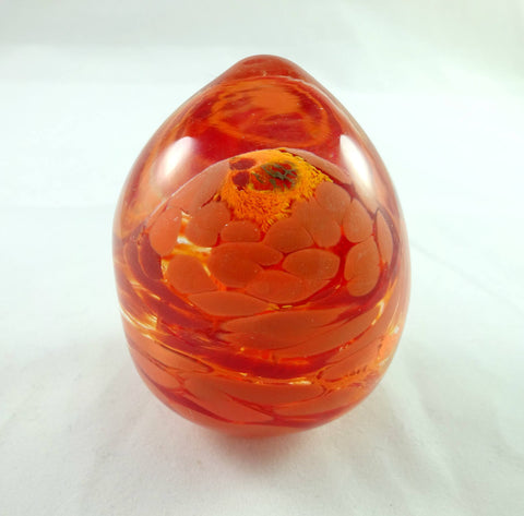 Handmade Art Glass Red and Orange Easter Egg Paperweight