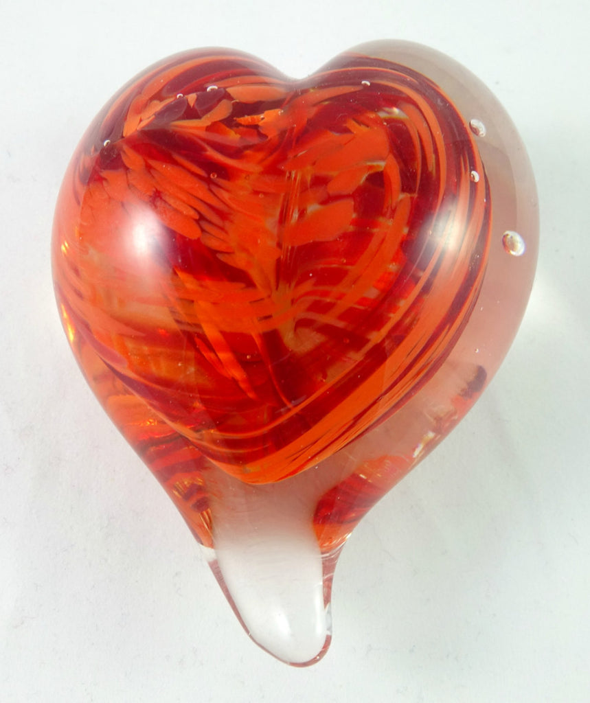 Handmade Orange and Red Art Glass Heart Paperweight, Great Mother's Day, Fall Gift