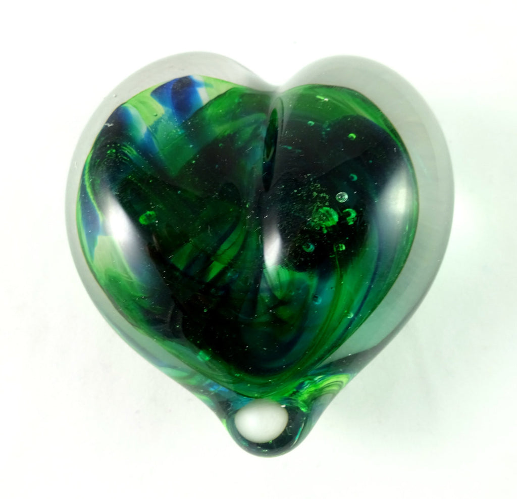 Handmade Green and Blue Art Glass Heart Paperweight, Mother's Day, Valentine Gift