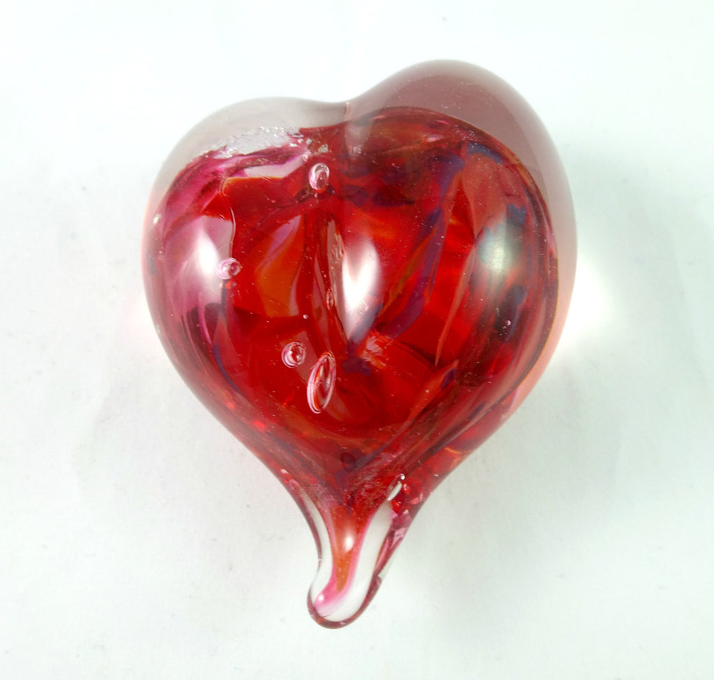 Handmade Red and Dichroic Art Glass Heart Paperweight, Great Mother's Day, Fall Gift