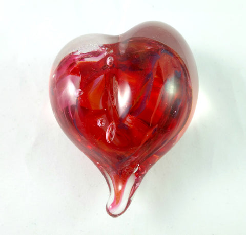 Handmade Red and Dichroic Art Glass Heart Paperweight, Great Mother's Day Gift!