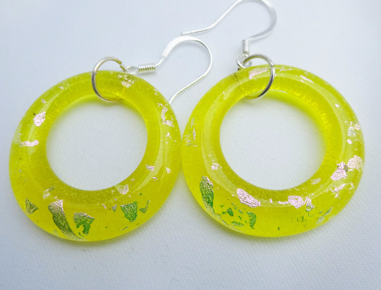 Handmade Yellow and Pink Dichroic Glass Hoop Earrings