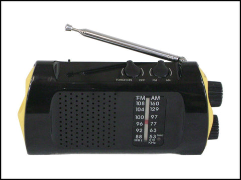 AM/FM Radio & Flashlight with Hand Crank Front View