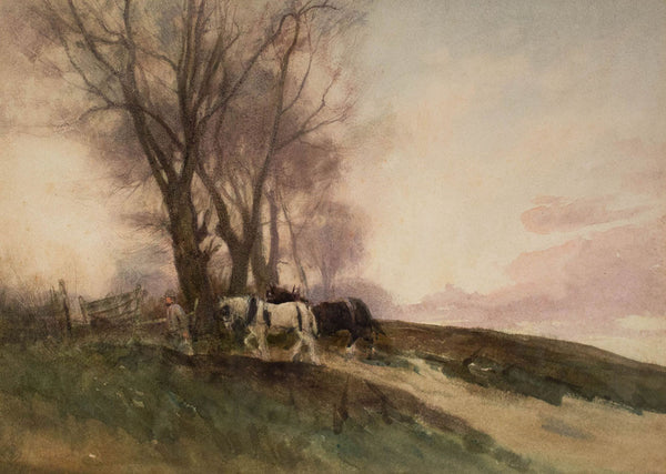 William Tatton Winter - Leading the Horses (19th Century Watercolour)