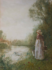 Frederick Hines - Girl by the River, 19th Century Watercolour